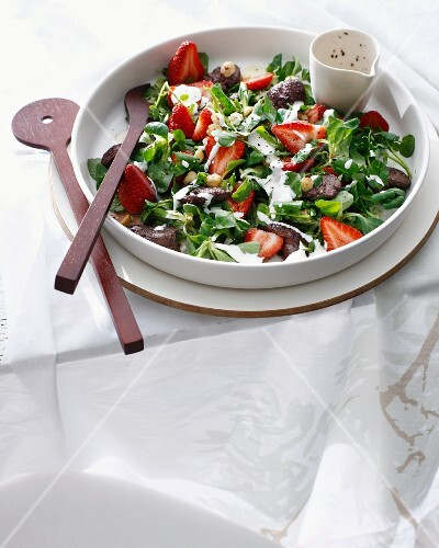Dish of strawberry chicken salad