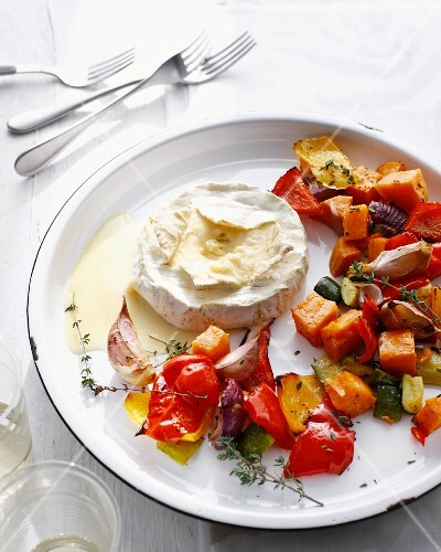 Plate of grilled vegetables and cheese
