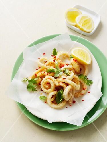 Plate of fried calamari and lemon