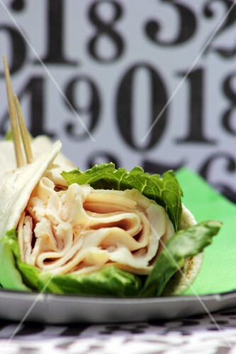 Turkey Wrap with Lettuce; Close Up