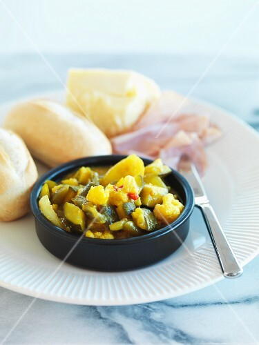 Piccalilli with baguette rolls