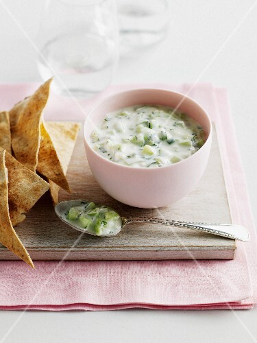 Bowl of soup with crackers