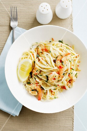 Bowl of linguine pasta with prawns