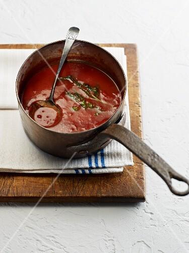 Marinara sauce in a saucepan