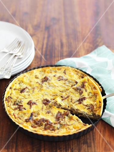 Caramelised onions and blue cheese quiche