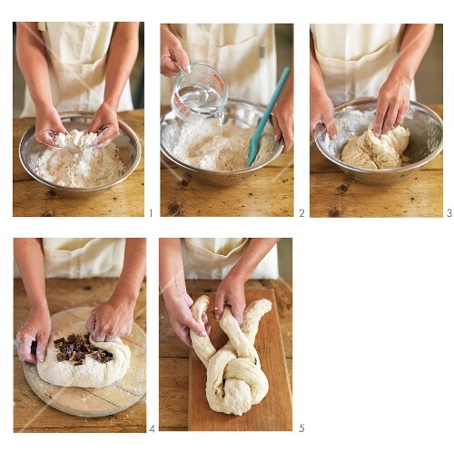 A plaited date and cinnamon loaf being made