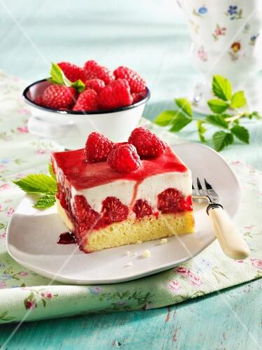 Yogurt and raspberry slices