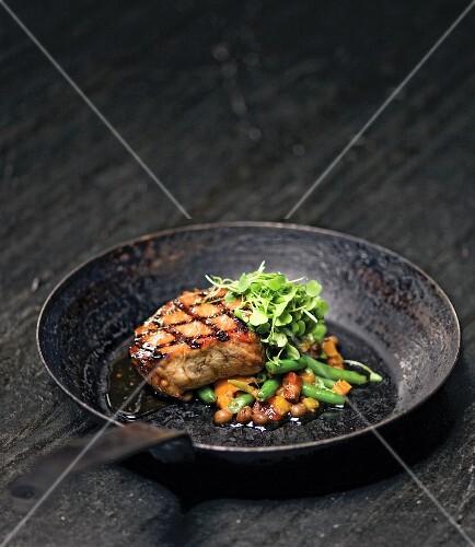 Grilled Boneless Pork Chop Over Succotash; In Cast Iron Skillet