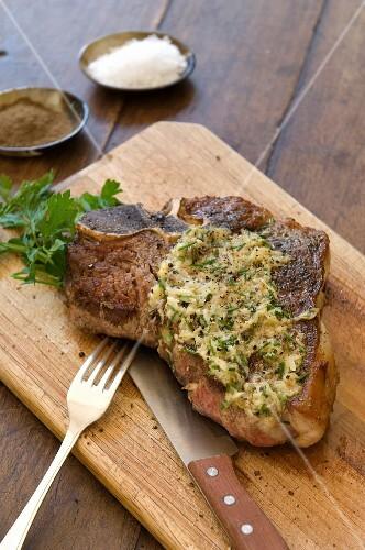 Bistecca burro e acciughe (T-bone steak with anchovy butter)