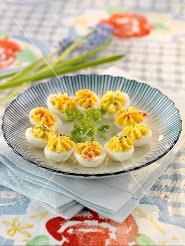 Deviled Eggs on White Serving Dish