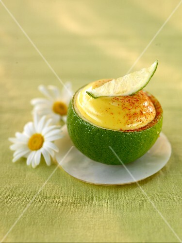 Mayonnaise in a hollowed lime