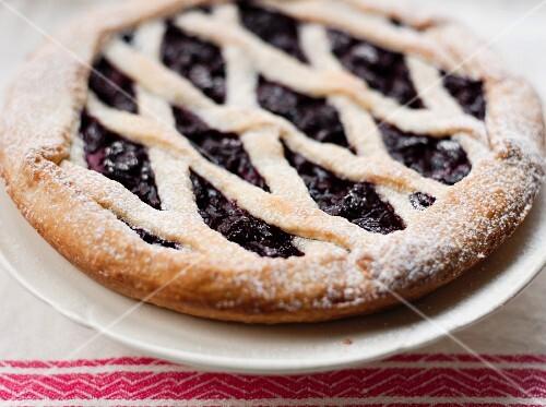 Linz-style cherry tart