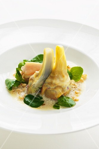 Artichokes and bittercress with rolled barley and poached chicken breast