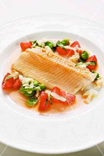 Steamed wild char with radishes and broad beans
