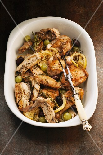 Lemon and rosemary chicken with grapes and garlic