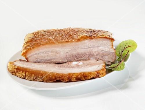 Oven-roasted pork belly