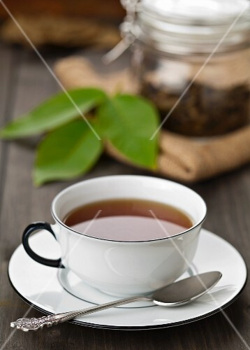 A cup of walnut leaf tea