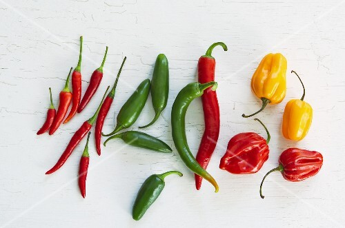 Different coloured chillies