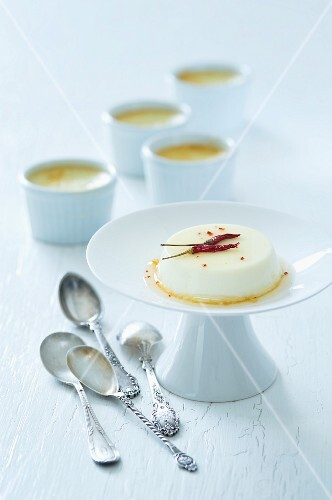 Creme caramel with chilli and cinnamon