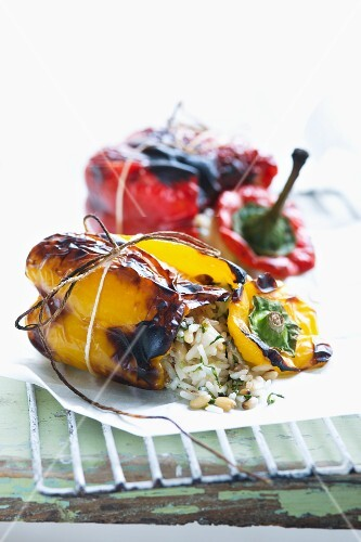Grilled peppers filled with rice