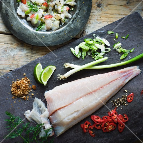 Ingredients for Ceviche with a chilli and lime dressing