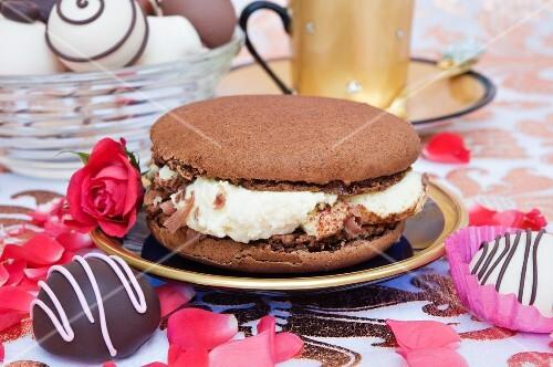 A chocolate macaroon filled with mascarpone cream