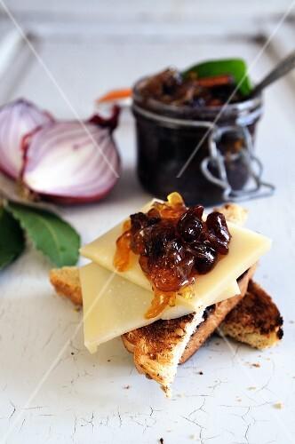 Homemade spicy onion and raisin jam