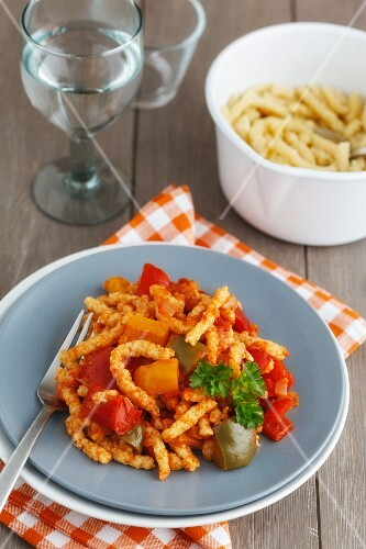 Spätzle (soft egg noodles) with letscho (Hungary)