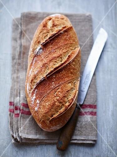 White bread on a linen cloth