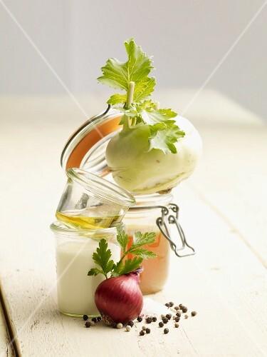 Ingredients for cream of kohlrabi soup
