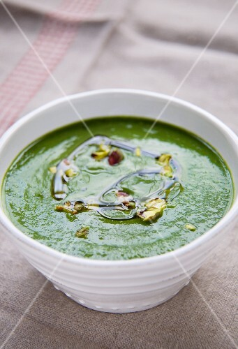 Bowl of Wheat Grass and Courgette Soup