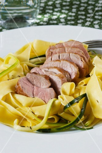 Pork fillet on tagliatelle