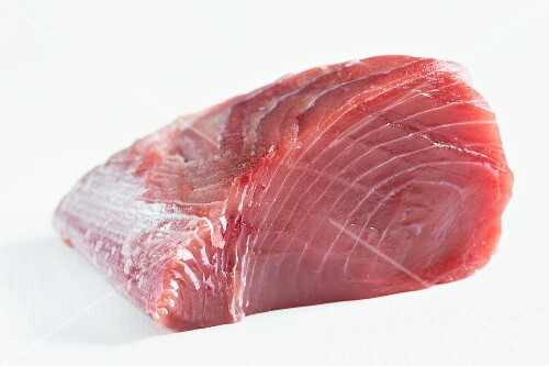 A skinned, fresh tuna fillet