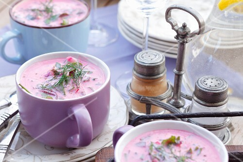 Cold beetroot soup with turnips, cucumber, herbs and kefir