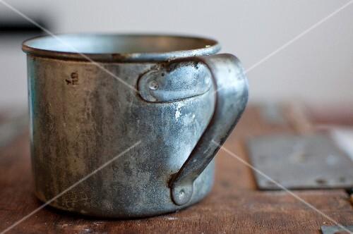 An old tin mug