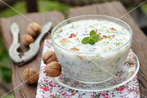 Tarator (cold cucumber soup, Eastern Europe) with garlic, walnuts and yogurt