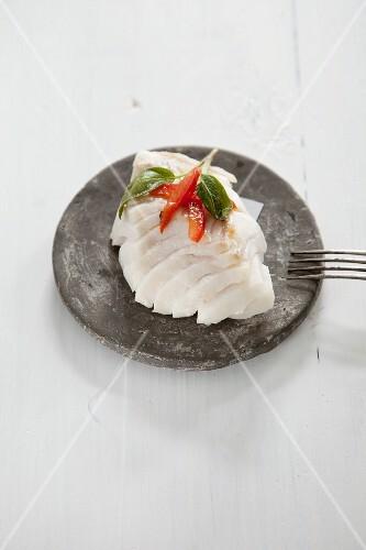 Poached cod fillet
