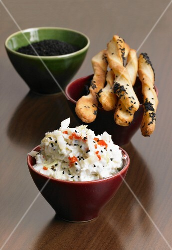Pointed cabbage dip with caraway breadsticks