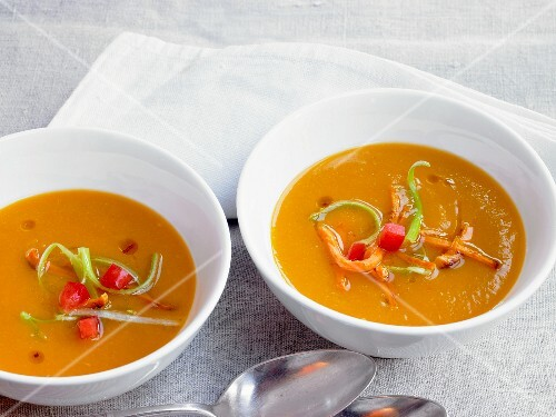 Sweet potato soup in bowls