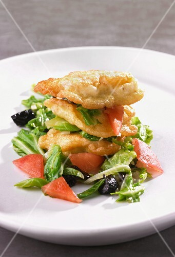 Baked monk fish with bok choy, tomatoes and olives