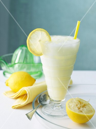 Frozen Lemonade with a Straw