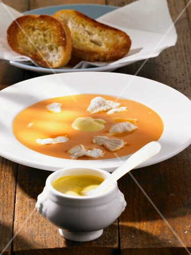 Bouillabaise with rouille and toasted bread