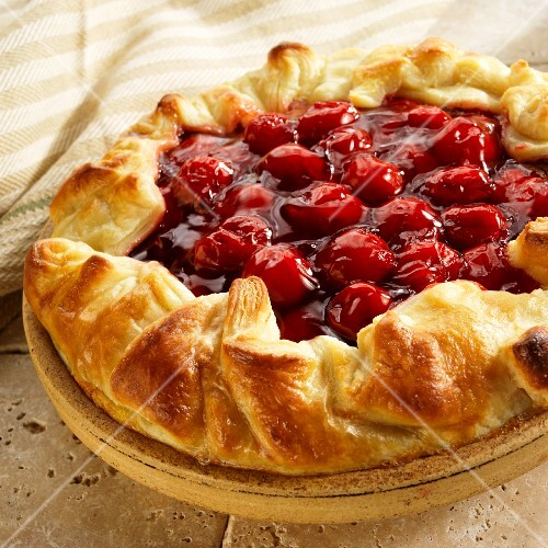 Cherry Tart with Puff Pastry Crust