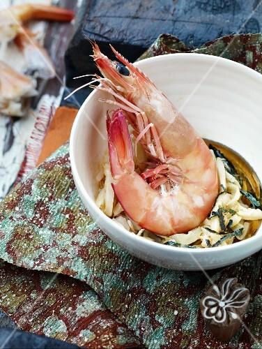 A prawn in a bowl