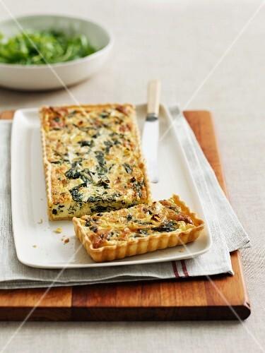 Spinach and salmon quiche