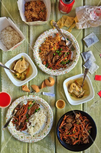 Chinese Take Out Food Spread on a Table; From Above