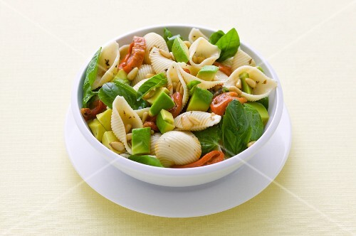 Mussel noodle salad with basil, avocado and roasted peppers