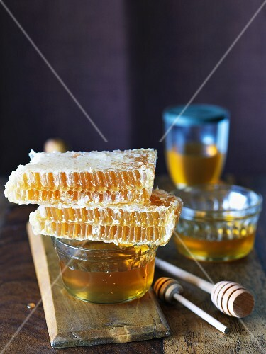 Honey Combs and Bowls of Honey; Wooden Dippers