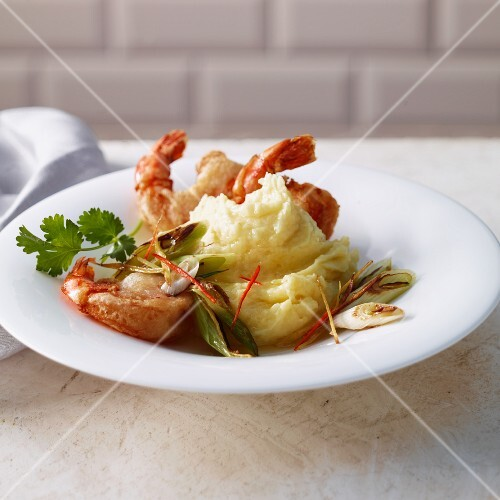 Coconut and potato puree with spring onions and chilli prawns