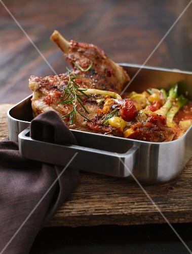 Braised lamb shoulder with rosemary and tomatoes